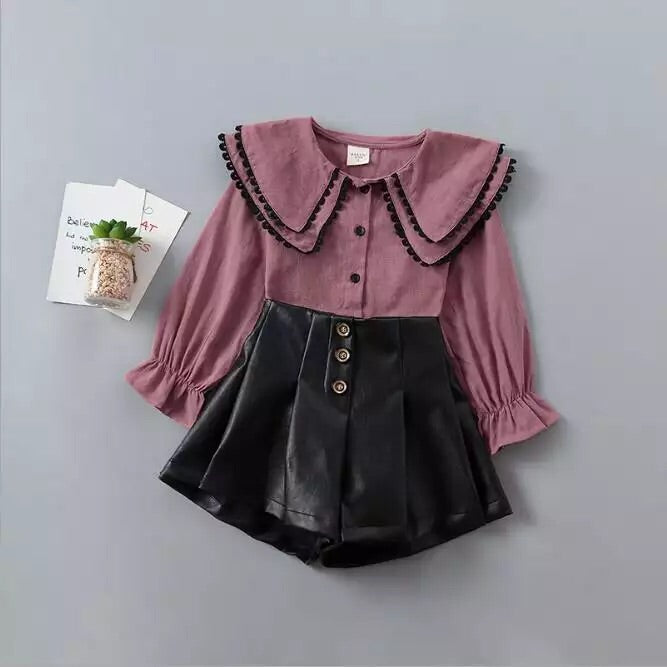 Ivy blouse and high waisted shorts set in Mauve/black