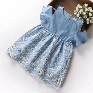 Riley embroidered dress in light blue