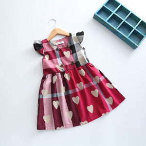 Hearts burgundy cotton dress