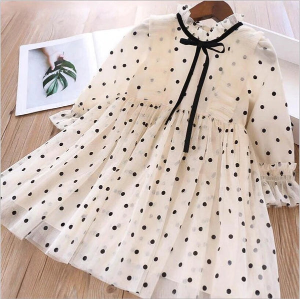 Polkadot dress with black ribbon bow