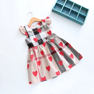 Hearts and Plaid dress in beige