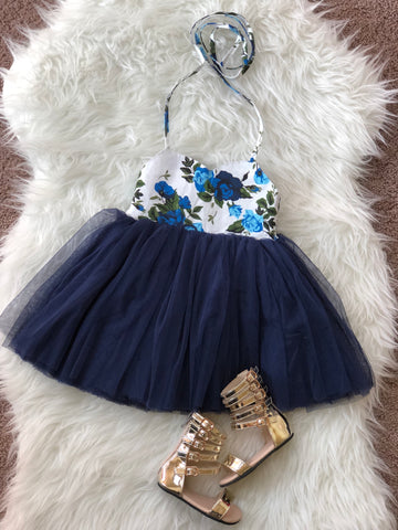 Crystal dress in navy