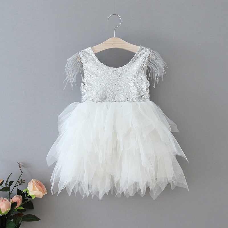 Aurelia sequined tulle dress in white/silver