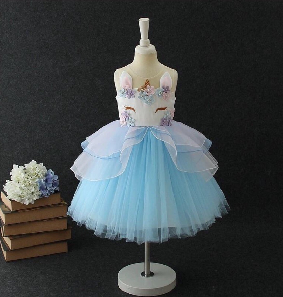 Blue unicorn dress