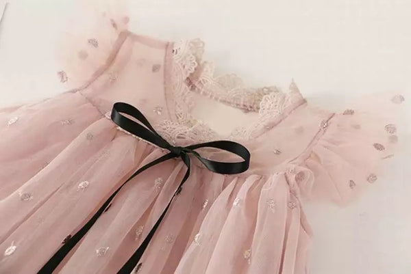 Aria lace trim blush dress