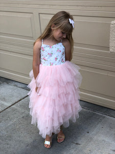 Long pink Crystal tutu dress