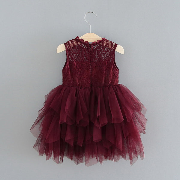 Burgundy sleeveless lace top tulle skirt Aubrey dress