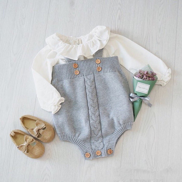 Olivia crochet romper in grey