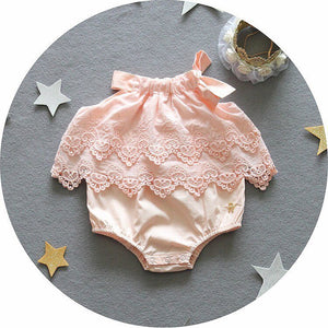 Pink crochet/embroidered baby romper
