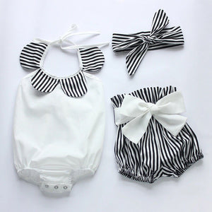 3 piece striped bloomers and headband  set