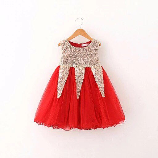 Red sequined dress