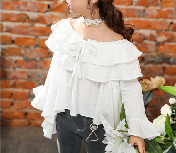 Off shoulder white ruffle blouse