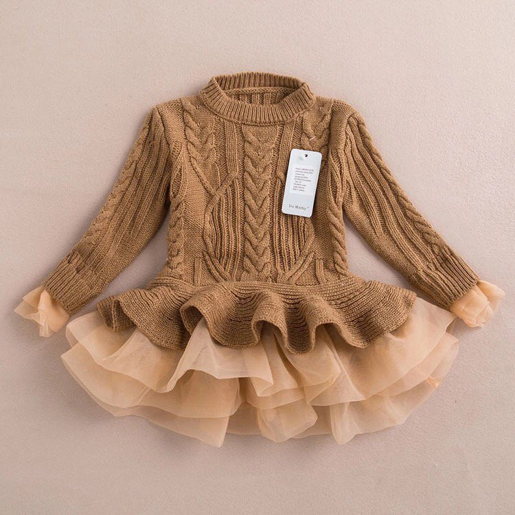 Khaki tutu sweater/dress