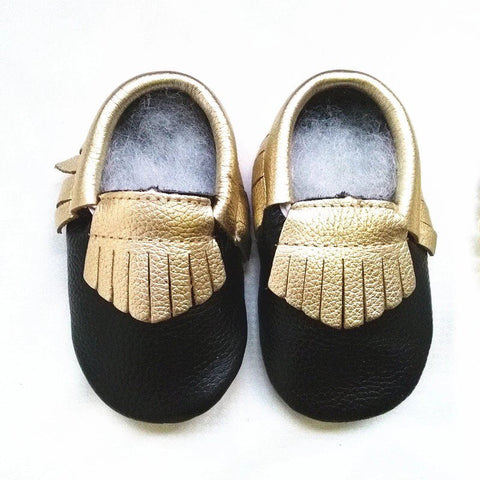 Black/Gold baby Moccs