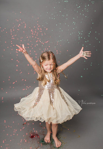 Gold sequined Adeline Dress