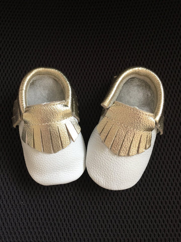 White/Gold baby Moccs