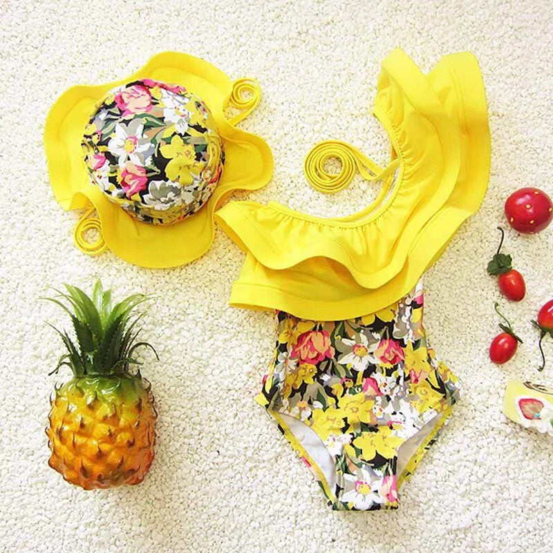 Yellow Ruffle one piece swimsuit