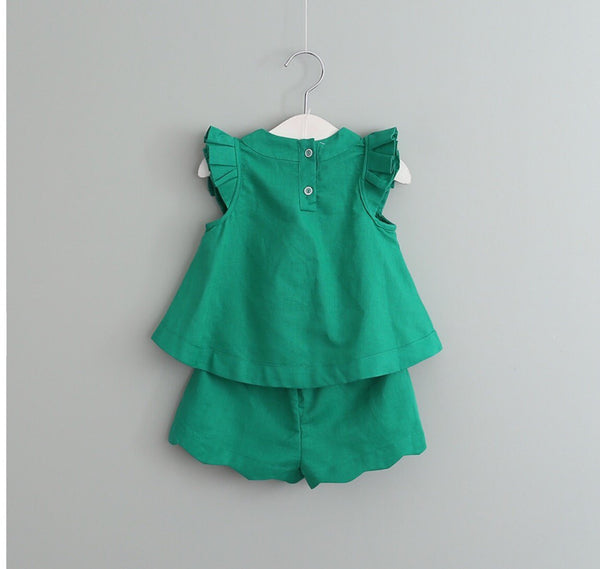 Cotton Ellie set in green