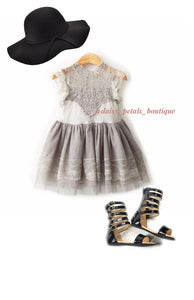 Avery Lace Dress in grey