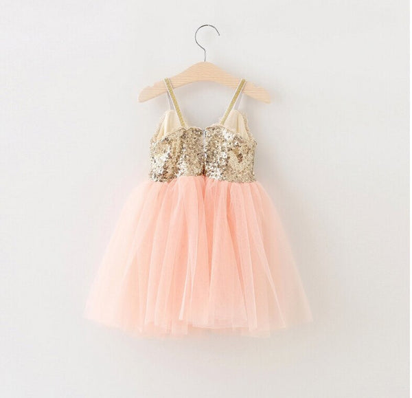 Seqined Mia Dress in Peach color