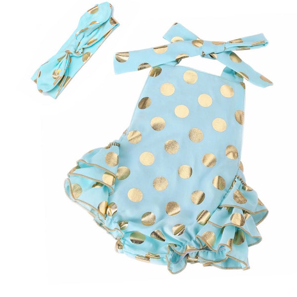PolkaDots and Ruffles Romper in teal