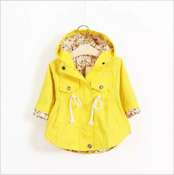 Yellow trench coat with floral lining