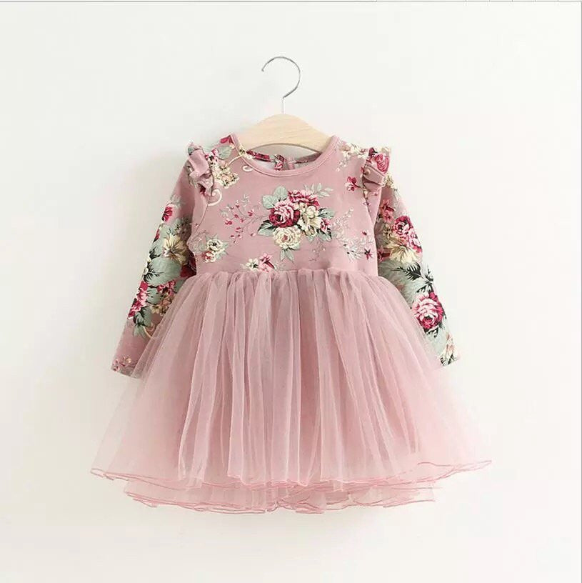Zoe floral tulle dress in dusty pink