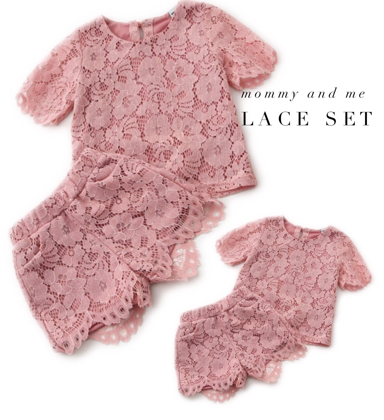 Blush pink lace set
