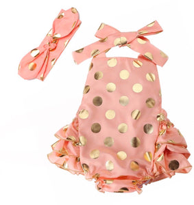 Peach polka dot romper per set