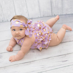 Polkadot and Ruffles romper in purple