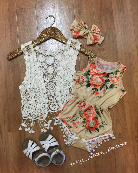 Yellow/Orange Pom  Pom Romper set