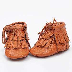 Double Fringe Booties in Orange