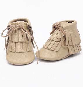 Double Fringe Booties in Tan