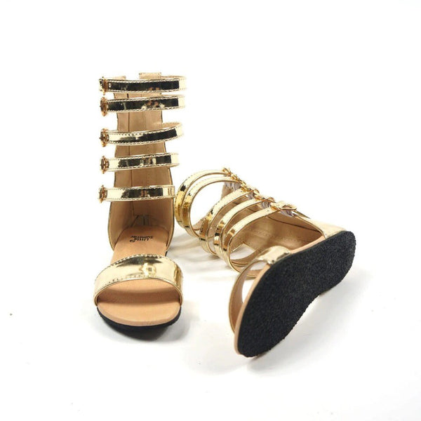 Gladiator sandals black and gold
