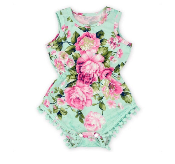 Mint and Roses Pom Pom romper