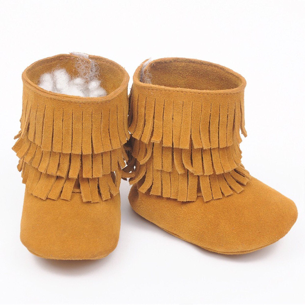 Suede fringe boots in mustard