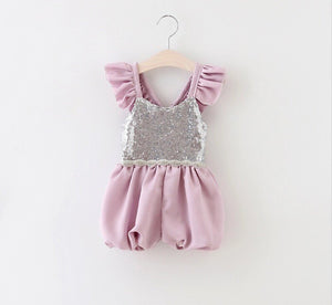 Silver and Lavender Ruffle Romper