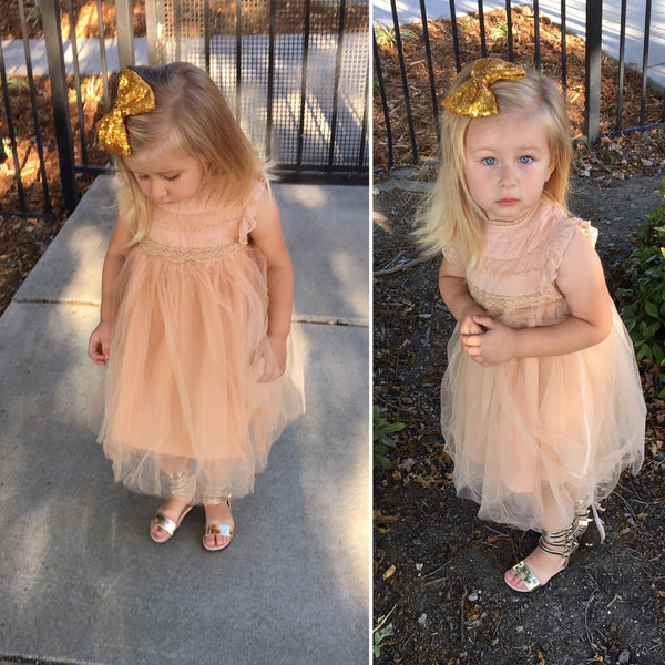 Romantic tulle dress in beige