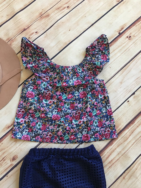 Floral off shoulder top and bloomers