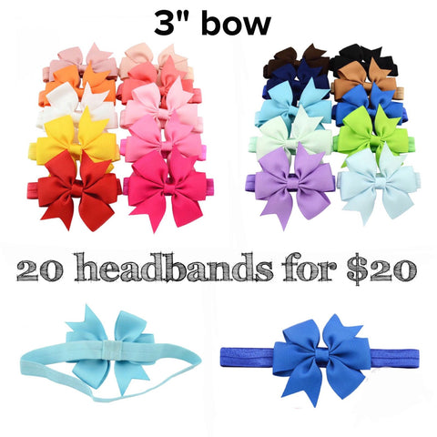Set of 20 headbands 3""