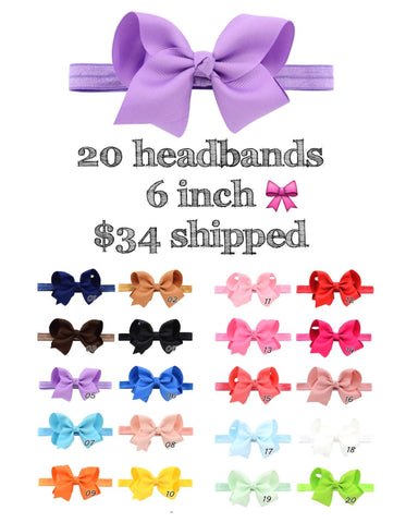 "Set of 20/6"" headbands"