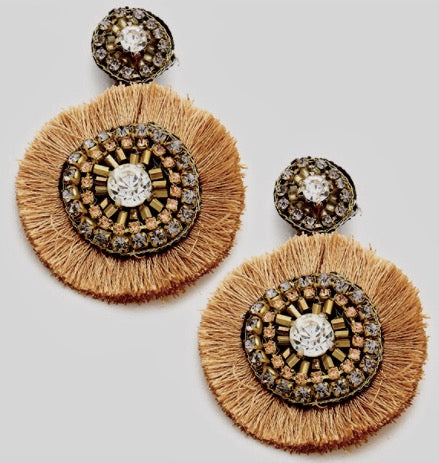 Multi Beaded Thread Fringe Earrings
