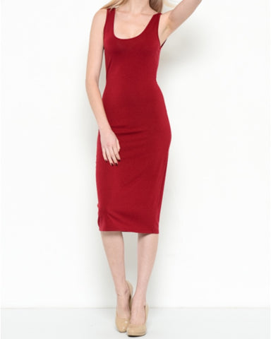 BACK SCOOP NECK MIDI DRESS