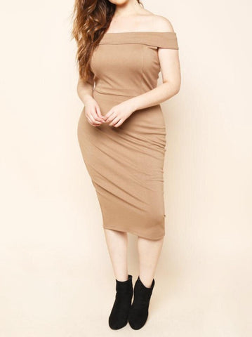 PLUS SIZE MIDI OFF THE SHOULDER DRESS