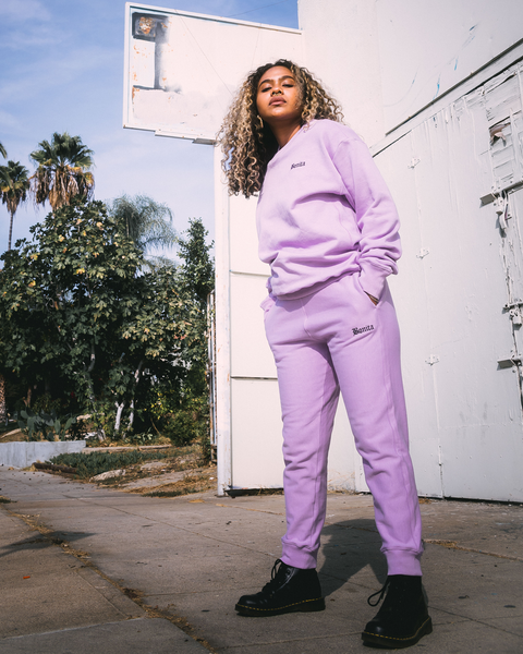 LAVENDER BONITA EMBROIDERED JOGGER SET