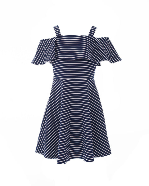 Navy Striped Cold-Shoulder Dress