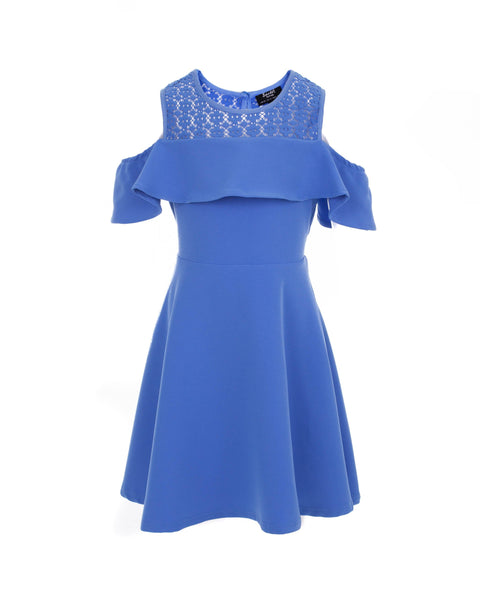 Palace Blue Cold Shoulder Ruffle Dress