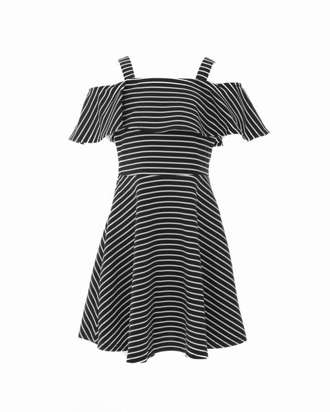 Black Striped Cold-Shoulder Dress