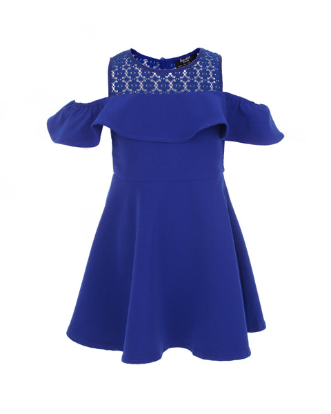 Royal Blue Cold Shoulder Ruffle Dress