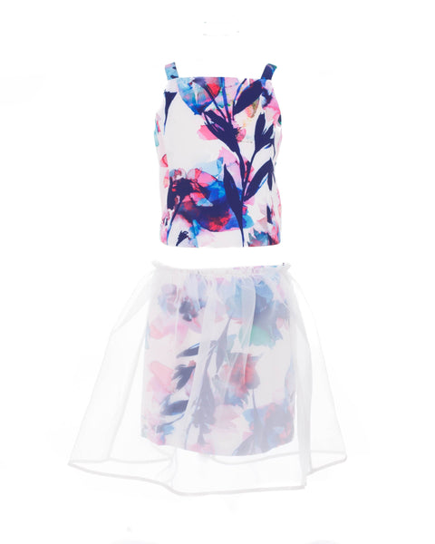 Arabella 2-Piece Floral Top And Overlay Skirt